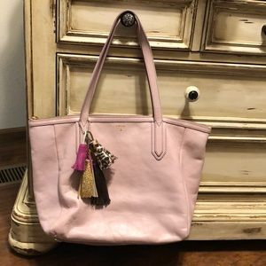 Fossil Lavender Leather Tote